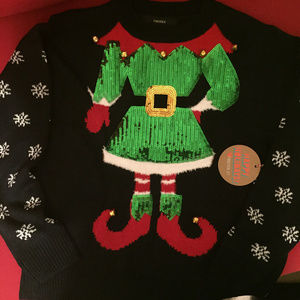 Ugly Elf Chrismas Sweater with Bells